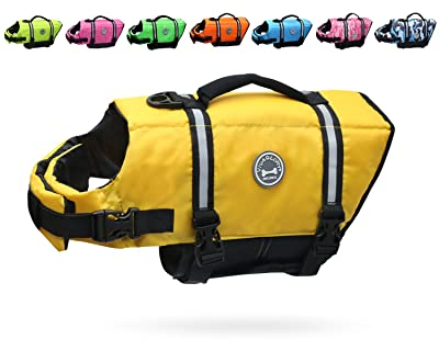 Vivaglory Dog Life Jacket Size Adjustable Dog Lifesaver Safety Reflective Vest Pet Life Preserver, Yellow, Small