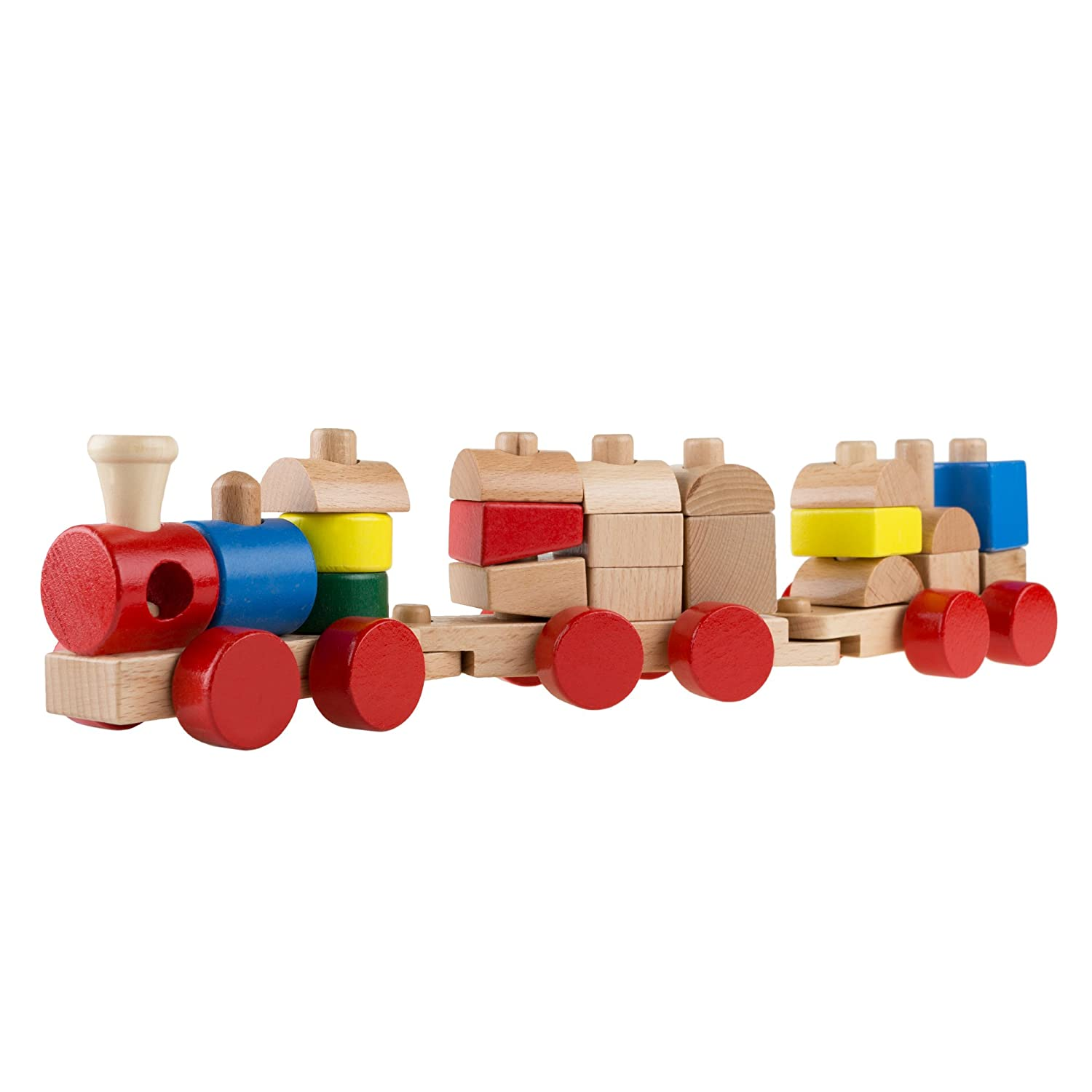 Trademark Global Interactive Learning Train Set with Bead Maze and Screw Block Train Cars for Boys and Girls Toys 80-HJD931095 Play Classic Wooden Toy Toddlers by Hey