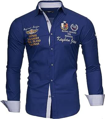 Kayhan Camisas Hombres Camisa Hombre Manga Larga Ropa Camisas de Vestir Slim fácil de Hierro Fit S M L XL XXL-6X - Modello Monaco