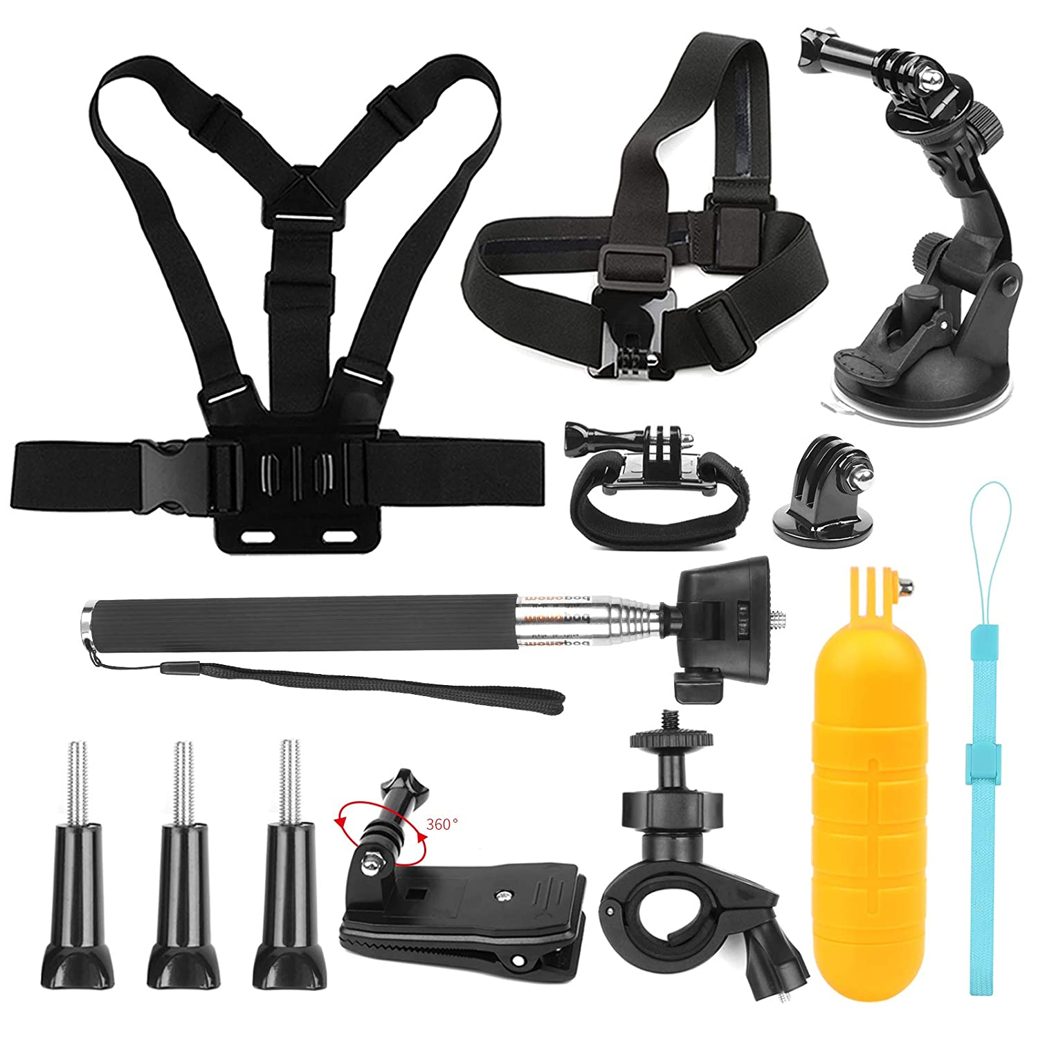 SHOOT 7in1 Travel Accessories Bundle Kit for GoPro Hero 6/5/4/3+/3/2/1/HERO(2018)/Fusion AKASO EK7000 APEMAN 4K WIFI Action Camera Rotational Backpack Clip,Head Belt Strap,Chest Belt Strap,Car Suction Cup Mount Holder, Floating bar