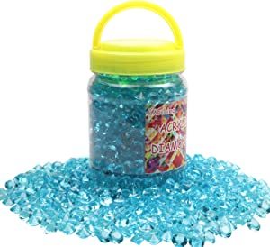 1100 Pieces Clear Wedding Table Scatter Confetti Crystals Acrylic Diamonds Rhinestones for Table Centerpiece Decorations Wedding Decorations Vase Beads Bridal Shower Decorations (Blue, 10 MM)