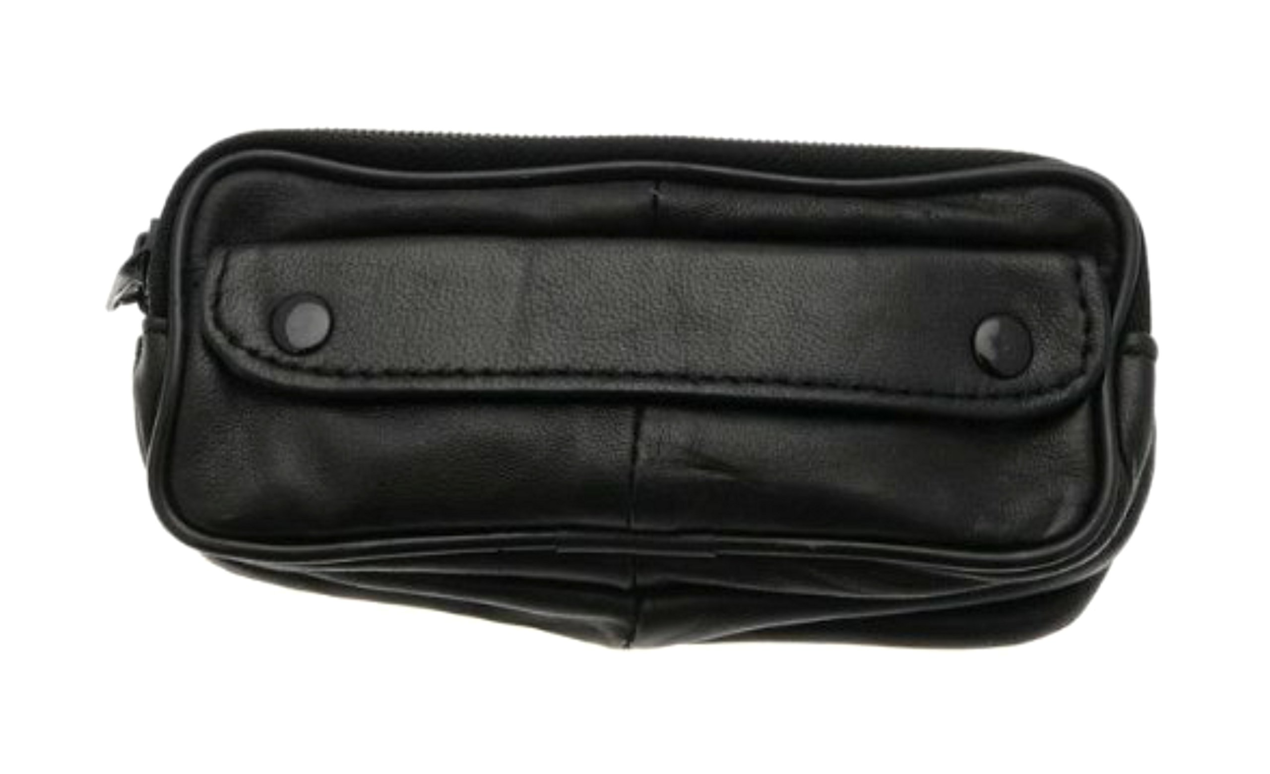 Soft Lambskin Leather Double Spectacle Case With Belt Loop - BLACK