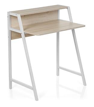 Kinderschreibtisch weiß holz  hjh OFFICE 634722 Schreibtisch Dumont Holz Ahorn/Weiß Computertisch klein  mit Stauraum