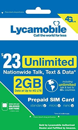 Amazon.com: Tarjeta SIM de Lycamobile precargada con plan de ...