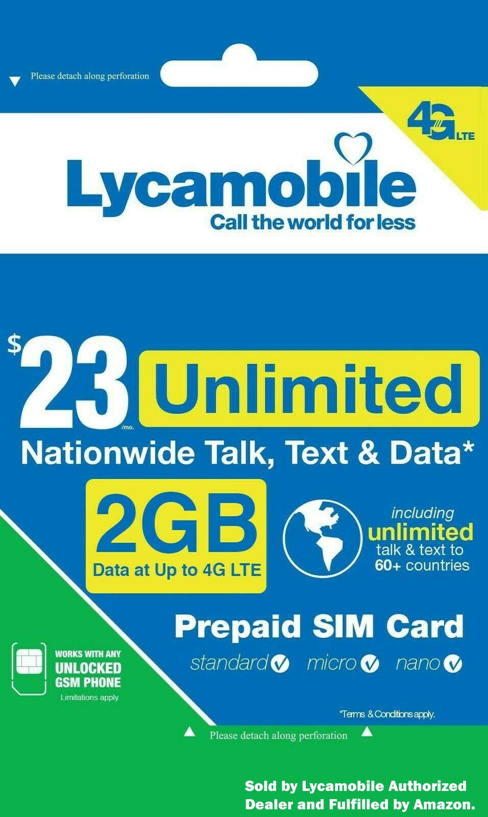 1ST MONTH FREE LYCA MOBILE Preloaded SIM with $23 Plan With International Call by lycamobile