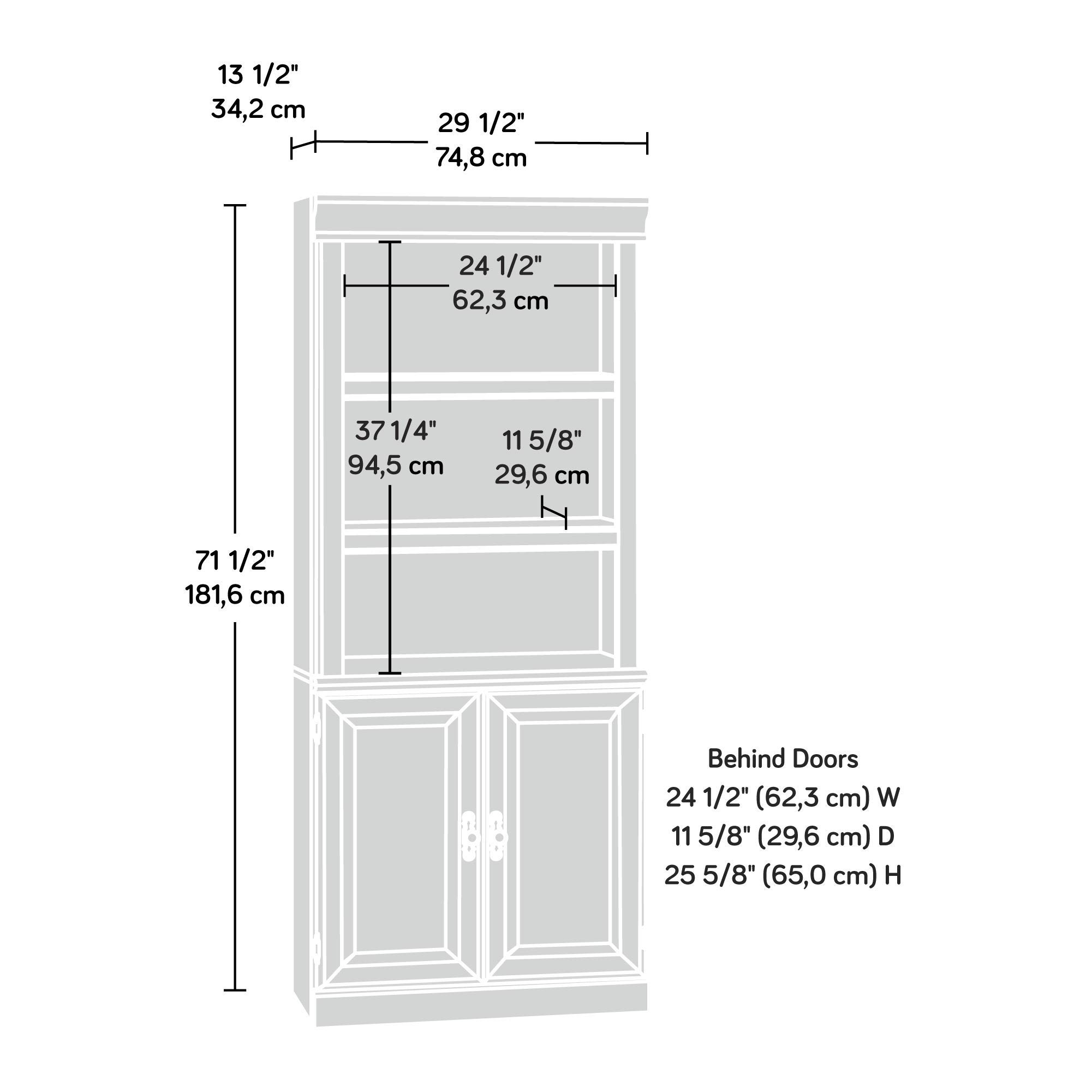 Sauder 418734 Orchard Hills Library with Doors, L: 29.45'' x W: 13.47'' x H: 71.50'', Milled Cherry finish by Sauder (Image #3)