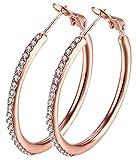 Amazon Price History for:Hoop Earrings, Stainless Steel Womens Cubic Zirconia Earrings, Rhinestone Girls Earings ( not allergies)