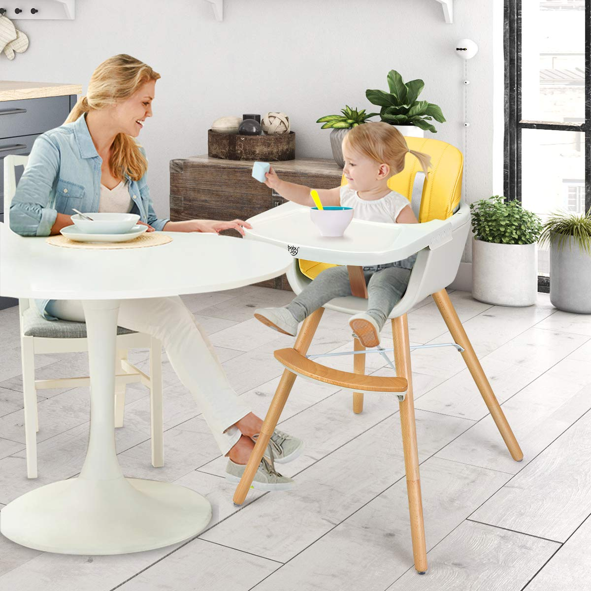 BABY JOY Convertible High Chair PU Cushion Wooden 3 in 1 Multi-Functional Highchair with Adjustable Legs 5-Point Seat Belt Adjustable Tray and Detachable Footrest for Baby and Infants Yellow