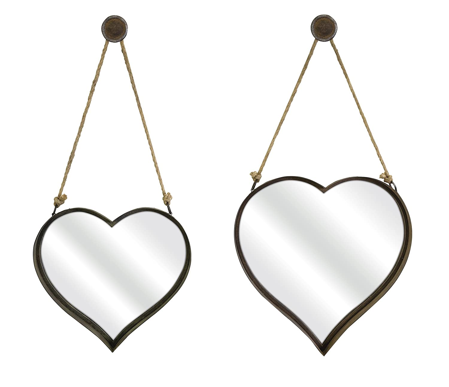 IMAX 87402-2 Heart Shape Wall Mirror, Set of 2