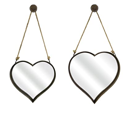 amazon com imax 87402 2 heart shape wall mirror set of 2 home