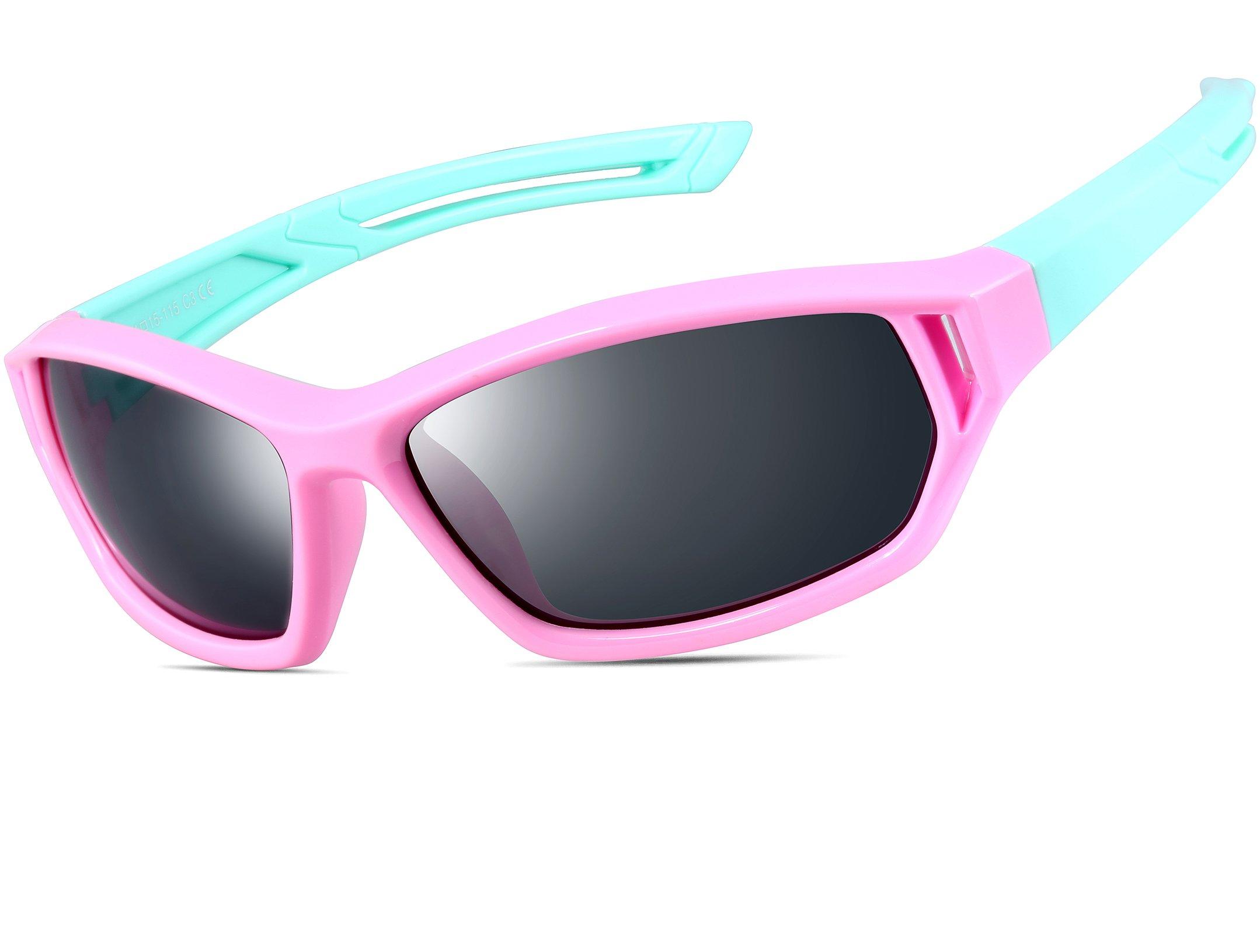 ATTCL Girls' Kids Sports TR90 Polarized Sunglasses Wayfarer Style For Boys Girls 864 Pink Blue
