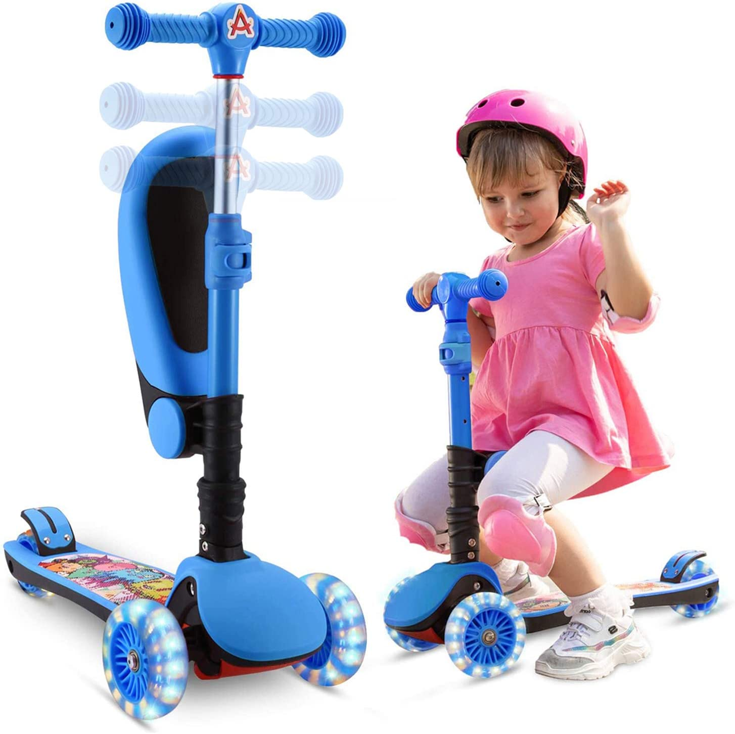 SANSIRP 3 Wheel Scooter for Kids, 2-in-1 Kick Scooter with Folding/Removable Seat 3 Adjustable Height Extra-Wide Deck PU Flashing Wheels for Girls & Boys 2-12 Years Old