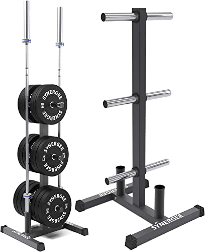 Synergee Olympic Weight Plate Tree Rack Barbell Holder Vertical Weight Rack for Gym Storage Home, Garage Commercial