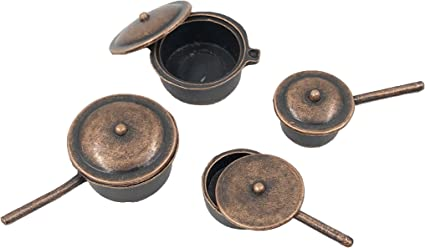 1//12 Miniature Frying Pan Pots Model for Dollhouse Kitchen Cooking Accessory