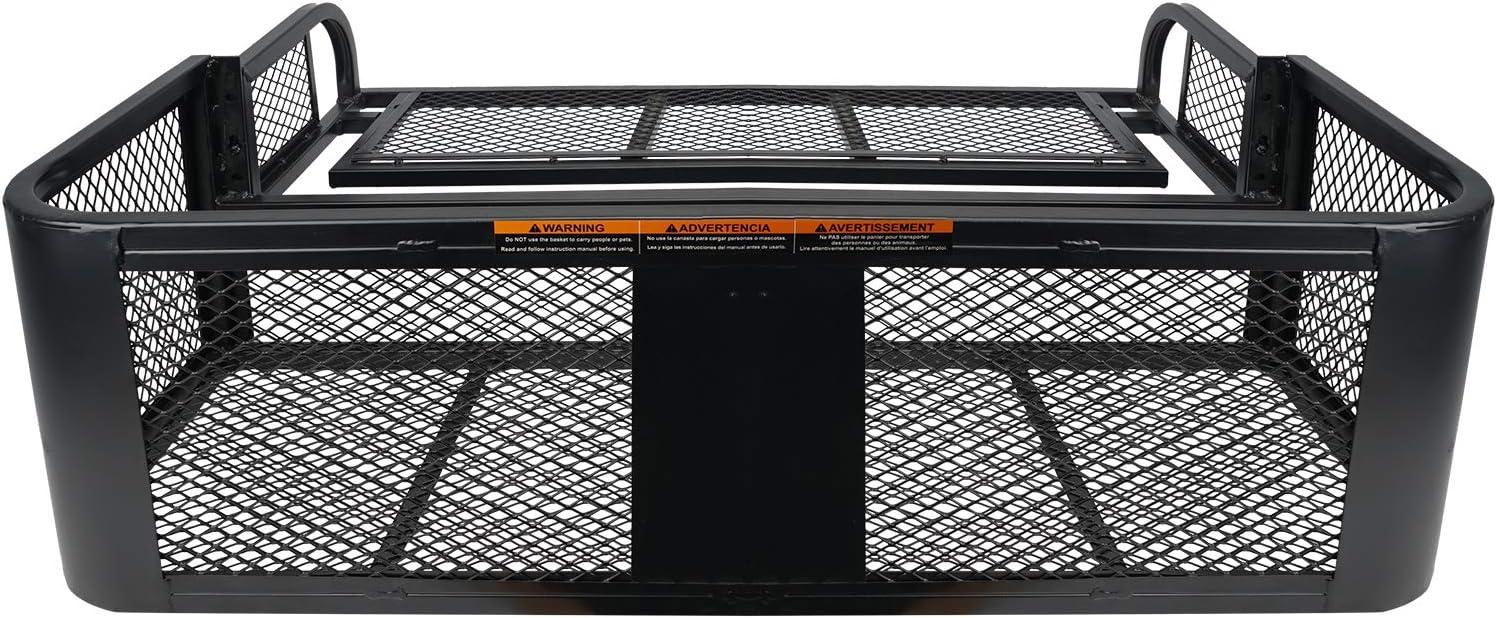 leofit ATV//UTV Rear Drop Mesh Cargo Rack Basket Detachable Luggage Steel Carrier