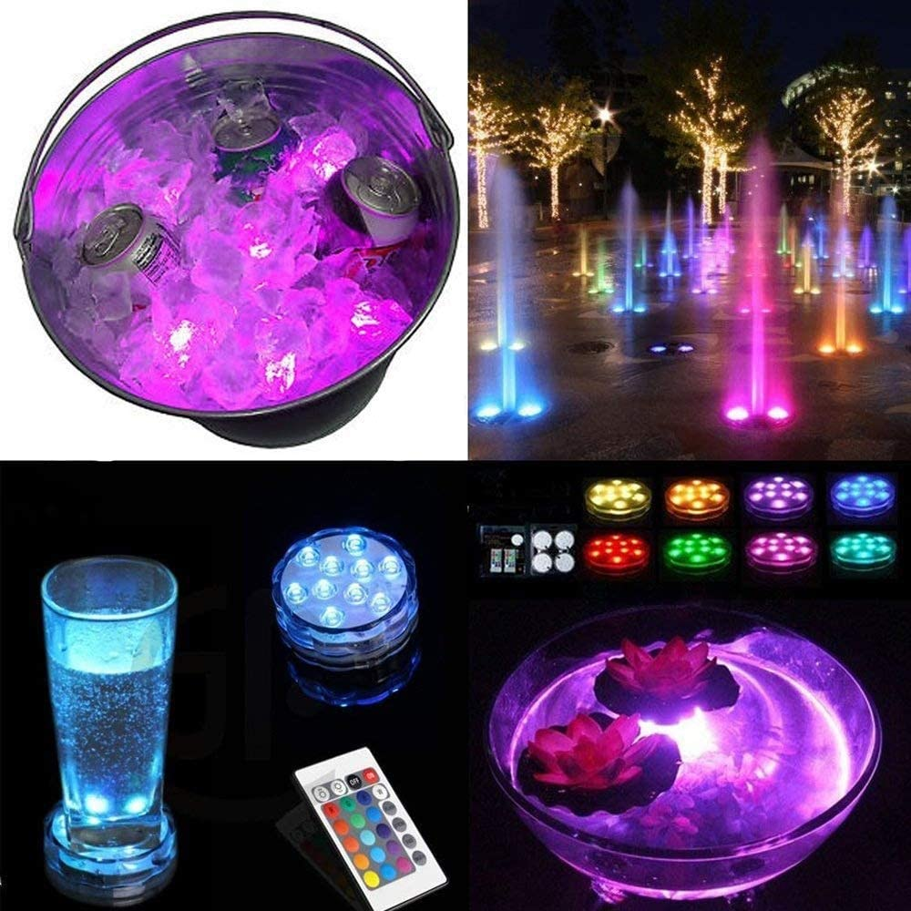 PQZATX Submersible Led Lights Battery Operated Spot Lights With Remote Small Lamps Decorative Fish Bowl Light Remote Controlled Small Led Lights For Aquarium Vase Base Pond Wedding