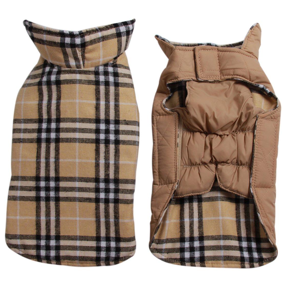 JoyDaog Reversible Plaid Dog Coat(7 Sizes) Waterproof Windproof Warm for Cold Weather Dog Jacket Beige XXL