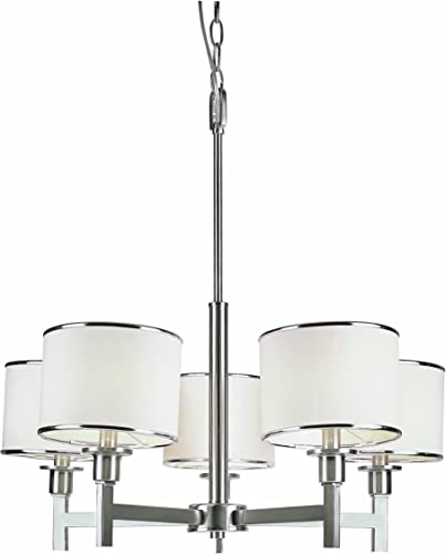 Trans Globe Lighting Trans Globe Imports 1055 BN Transitional Five Light Chandelier from Cadance Collection in Pwt, Nckl, B S, Slvr. Finish, 26.00 inches, Brushed Nickel