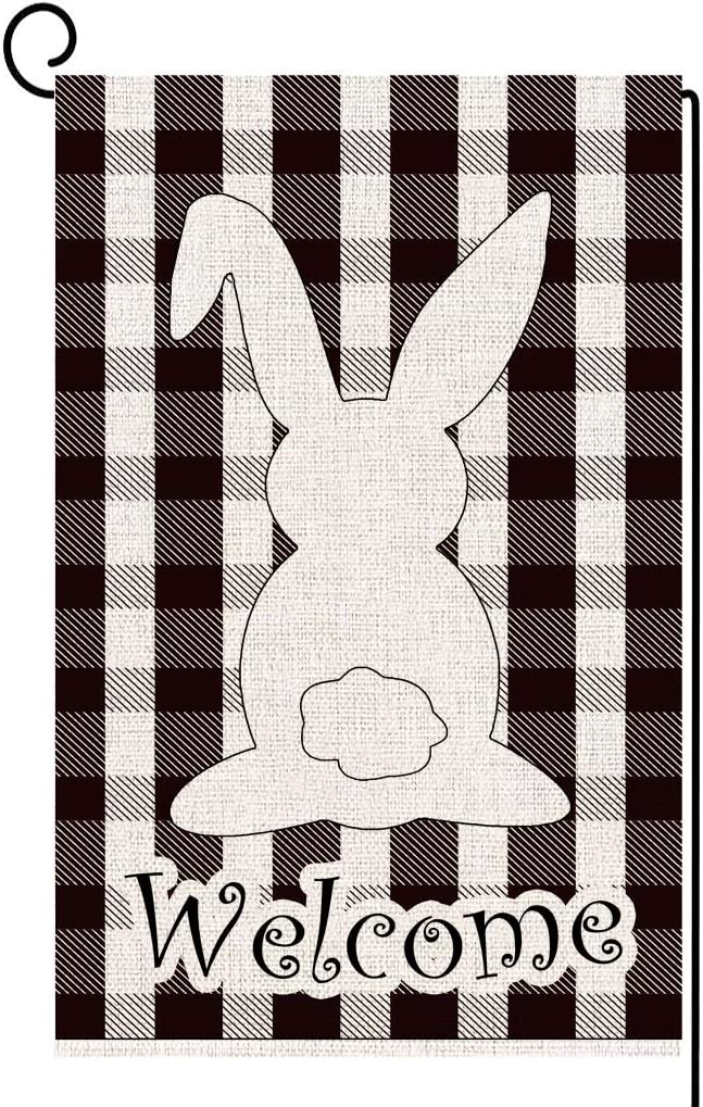 ORTIGIA Welcome Easter Bunny Spring Small Garden Flag Plaid Rabbit Farmhouse Vertical Double Sided Burlap Yard Outdoor 12.5 x 18 Inches