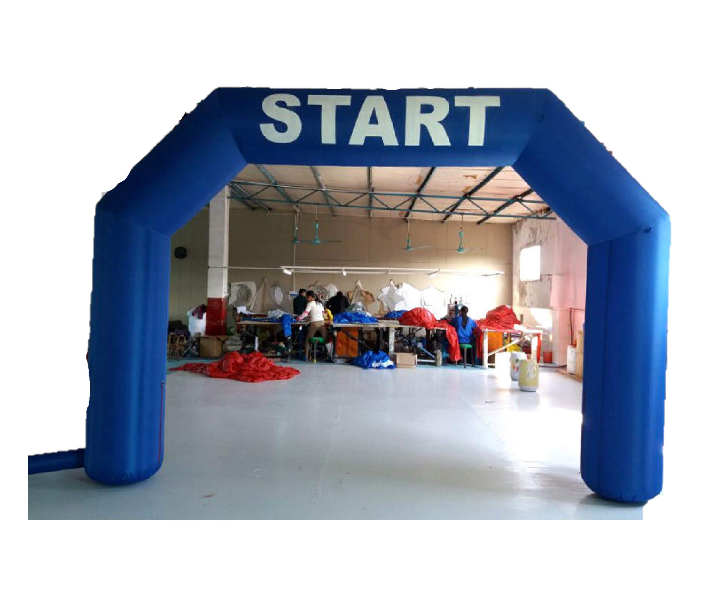 inflatable4less 15FT Hexagon Inflatable Arch Archway w/Fan Start Finish, No Customization (Blue)