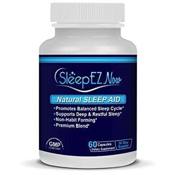 SleepEZNOW- Natural Sleep Aid with Stress Relief. With GABA, Valerian and Melatonin +