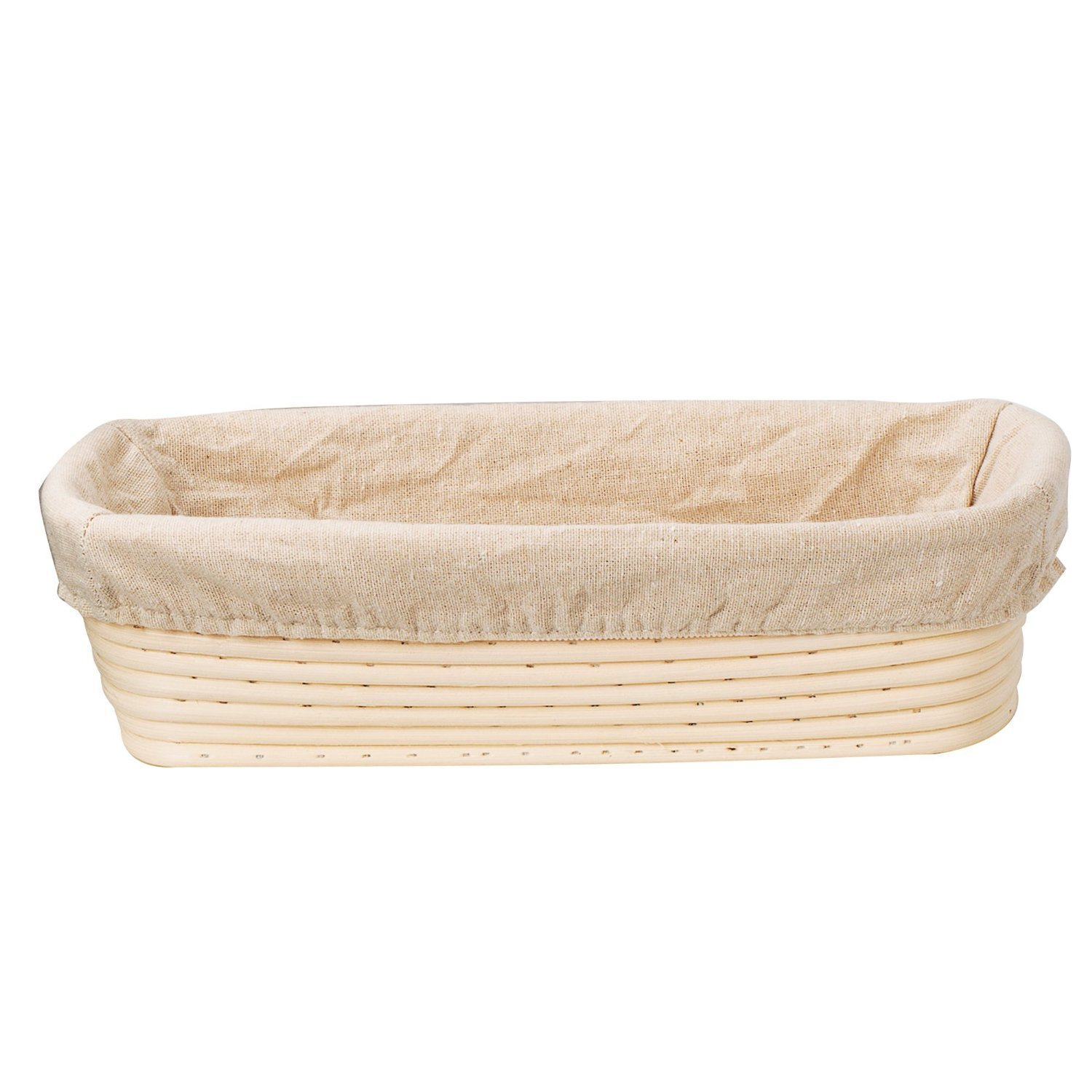 KOOTIPS 9 inch Oval Shaped Banneton Brotform Bread Dough Proofing Rising Rattan Basket & Liner Combo