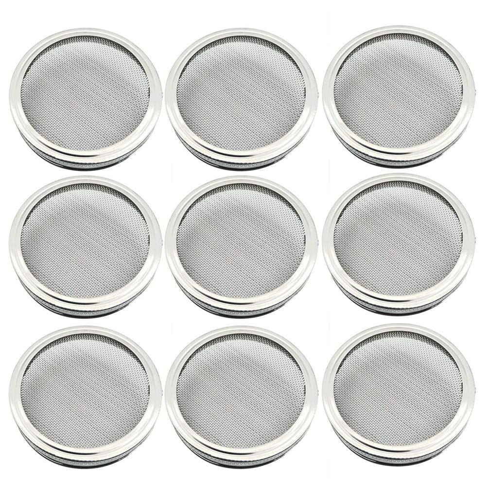 9pcs 86mm Stainless Steel Sprouting Lids for Wide Mouth Mason Jars for Making Organic Sprout Seeds in House and Kitchen