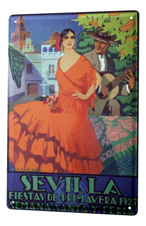 Cartel De Chapa Deco Ciudad Sevilla España Flamenco 1927 ...