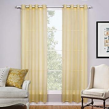 GUOAI Cortinas De Cortina Transparente, Mamparas De Sala De Estar con Perforaciones, Color Opcional,Yellow,140 * 160cm: Amazon.es: Hogar
