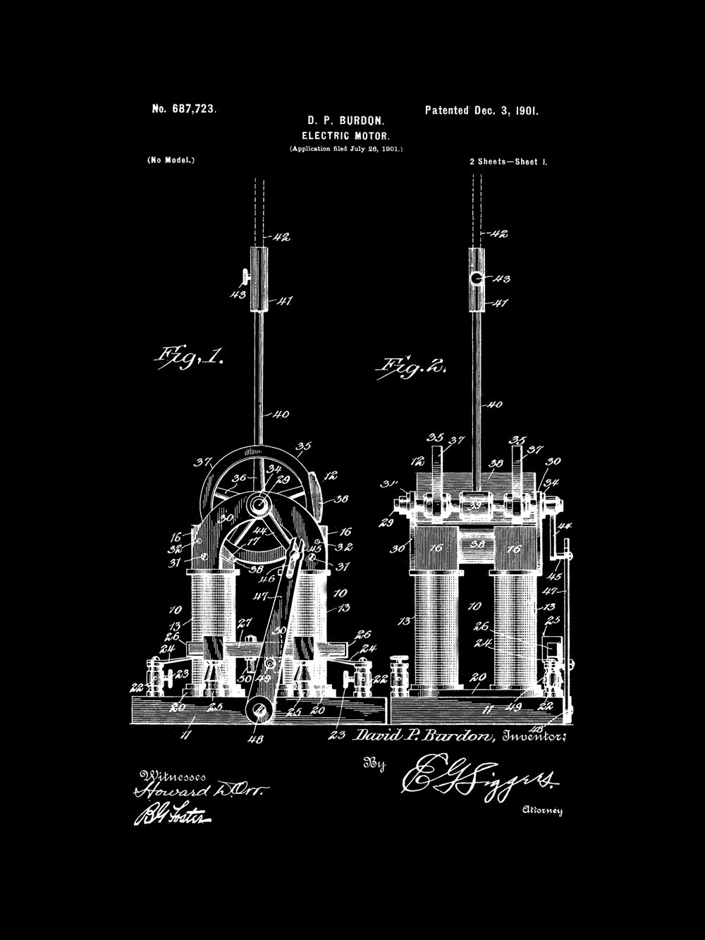 Amazon.com: Framable Patent Art The Original Ready To Frame Décor Tesla Electric  Motor Car Engine 8in By 10in Patent Art Poster Print Vintage Black ...