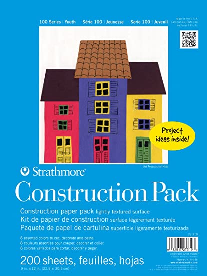 Strathmore 27-309 100 Series Youth Construction Paper Pad, 9x12 Tape Bound, 40 Sheets 9x12 Tape Bound