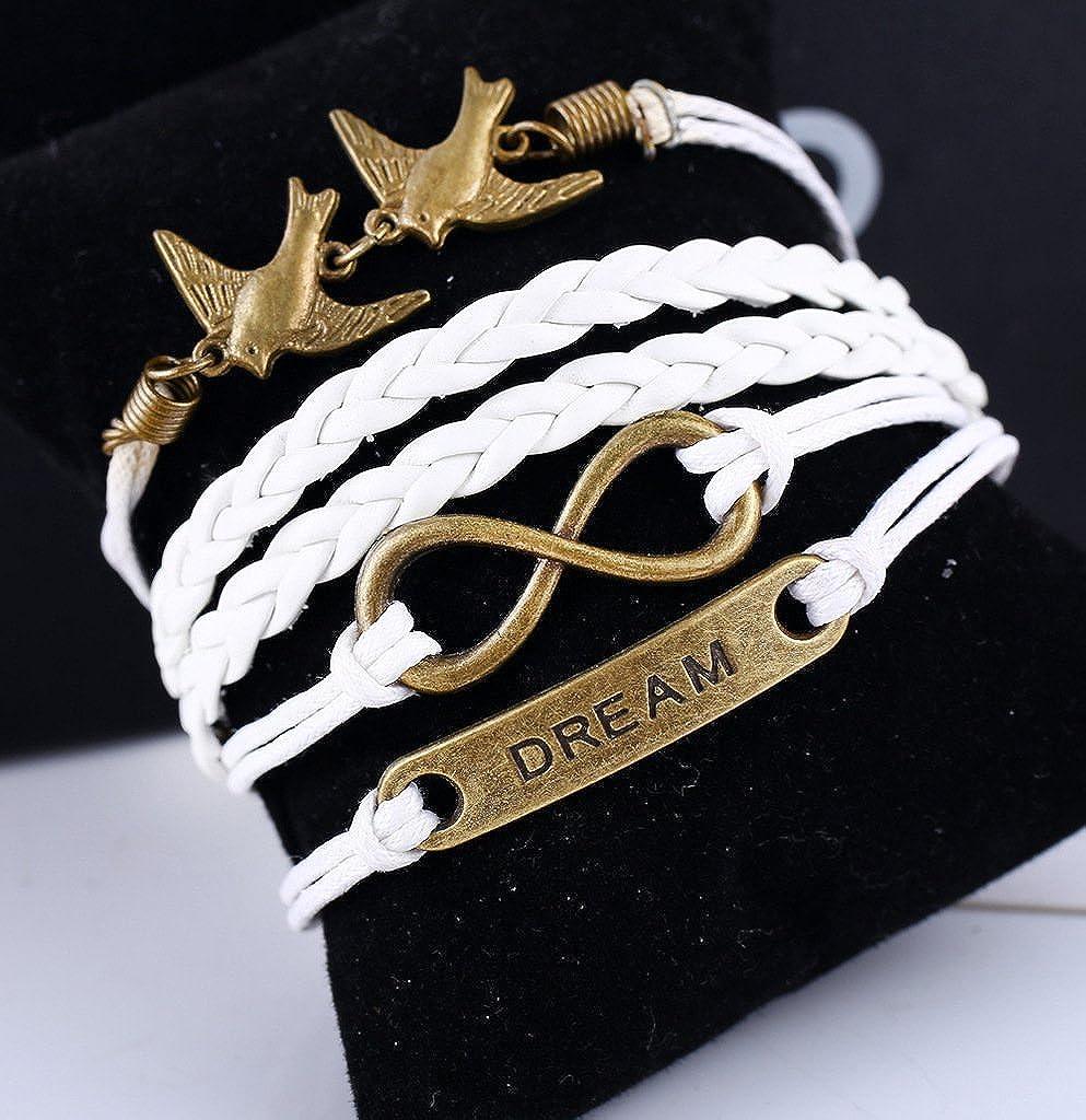 Uming/® Retro Vintage Fashion Handmade Multicouche Corde tress/ée Bracelet Corde ami Cadeau personnalis/é Amiti/é Wrap Bracelet Bangle Infinity 8 Forme Plaque de m/étal 2bird Series