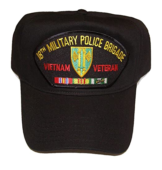 64b7fc374 18TH MILITARY POLICE BRIGADE VIETNAM VETERAN HAT with ribbons and 18th MP  Brigade crest cap - BLACK - Veteran Owned Business