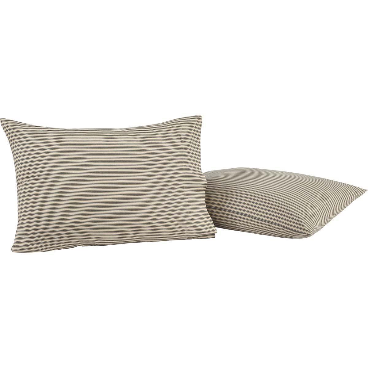 VHC Brands Farmhouse Bedding - Kendra Stripe White Pillow Case Set, Standard, Black