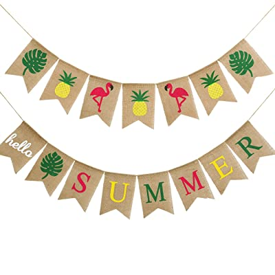 2 Pieces Hello Summer Banner Flamingo Pineapple Palm Leaves Banner Rustic Garland Decorations for Hawaiian Summer Party (Color Set 2): Toys & Games