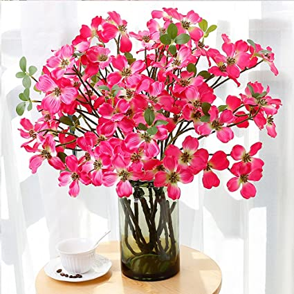 Amazon yiliyajia 2pcs artificial flowering dogwood silk flower yiliyajia 2pcs artificial flowering dogwood silk flower cornus florida for home and table decor hot mightylinksfo