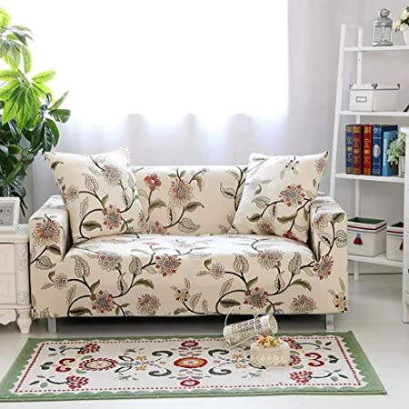 lingjun sofa lounge covers brushed floral print 1 2 3 4 seat stretch rh amazon co uk Only Floral Print Sofa Floral Print Sofa and Loveseat