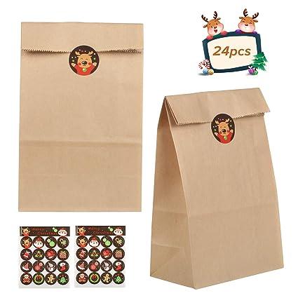 Bolsa de papel Kraft con pegatina,ZERHOK 24pcs Bolsas de ...