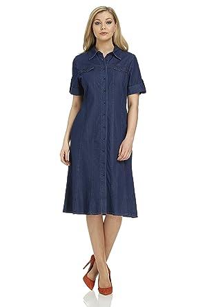 feec6d777d7 Roman Originals Women s Denim Knee Length Button Shirt Dress - 20 ...
