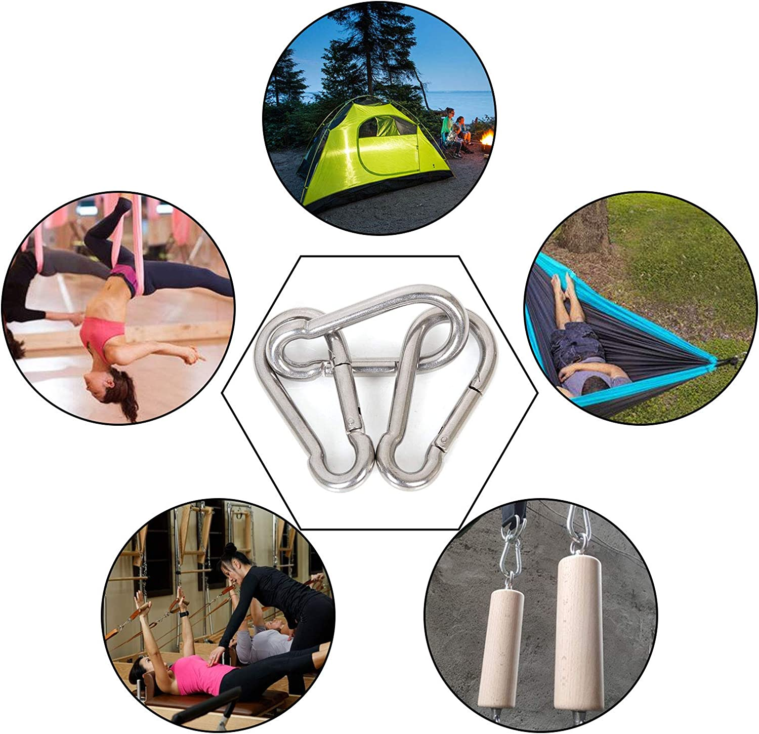 """Hammock Sun Shade Gym 3//8/"""" Diameter Heavy Duty Carabiner Clip Large Stainless Steel Spring Clips 10PCS 4/"""" Spring Snap Hooks 770 Holding Capacity M10 Carabiner Big Spring Buckles for Swing"""