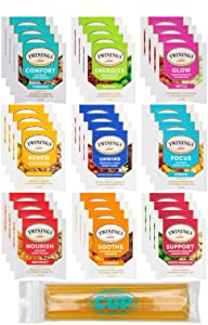 Twinings Wellness Hot Tea Variety Pack 36 Count, 9 Flavors with By The Cup Honey Sticks