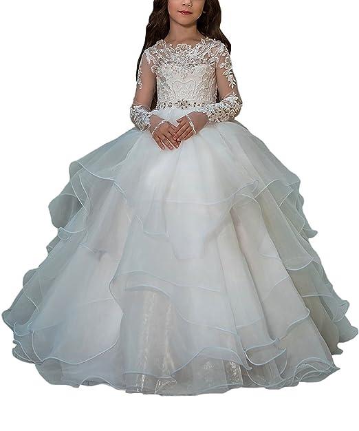 VIPbridal Apliques de encaje de manga larga primeros vestidos de comunión para niñas (10)