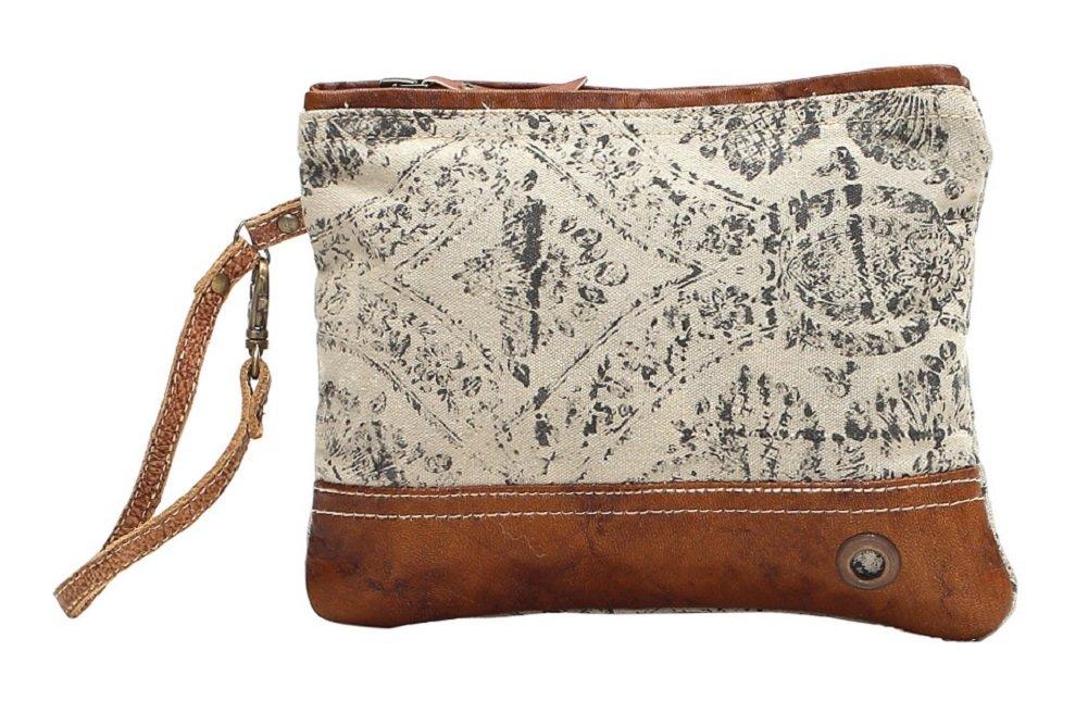 Myra Bag Floral Upcycled Canvas Wristlet Bag S-1019 Brown Small