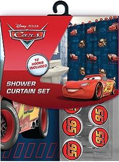 All New Fabric Shower Curtain Set Disney 12 Matching Hooks Cars