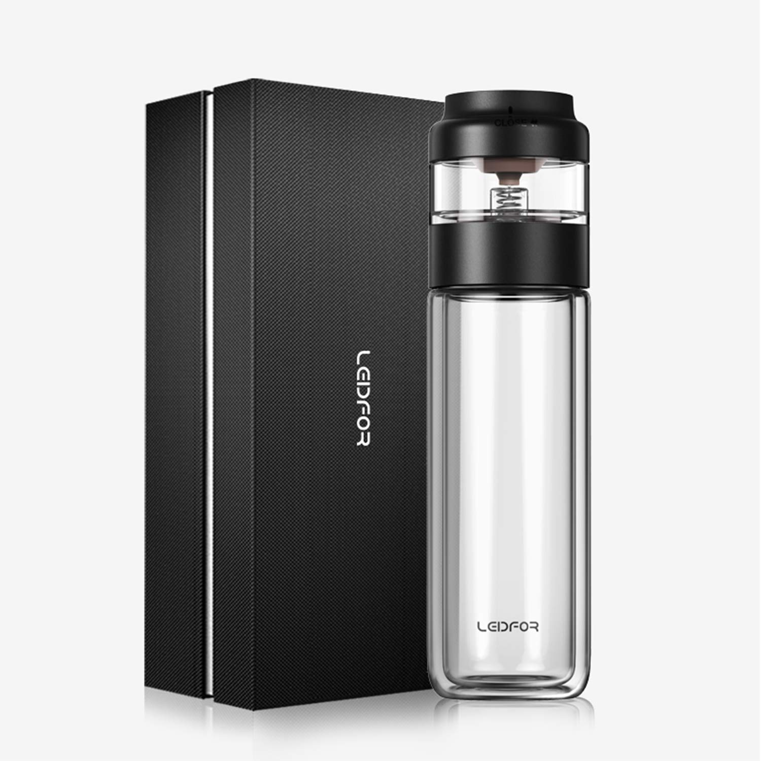LEIDFOR Glass Tea Tumbler with Leaf-Tea Separation Infuser, Double Wall Glass Travel Tea Mug, Leakproof Tea Bottle with Strainer BPA Free Black 10 Ounce by LEIDFOR