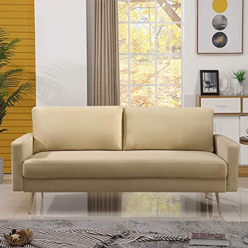 Best living room sofa: Modern Loveseat Sofa Couch Lounger Suede Cushions Living Room Small Apartment Home Furniture 73 inch,Beige