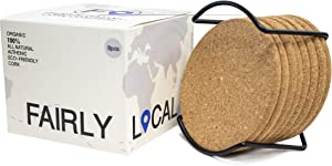 """Organic Natural Cork Coasters With Round Edge 4 inches 8pc Set with Metal Holder Storage Caddy – 1/4"""" Thick Plain Absorbent Heat-Resistant Reusable Saucers for Cold Drinks Wine Glasses Cups & Mugs"""