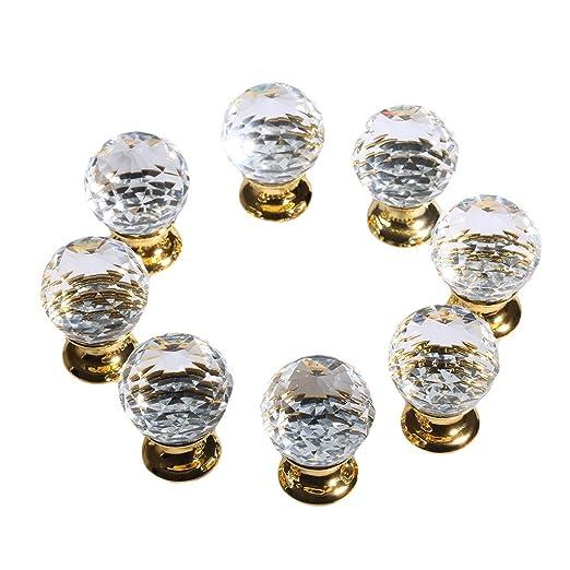 49 opinioni per Finether Pomelli di Cristallo per Porta Cassetto Armadio 8 pz * 25mm, Oro