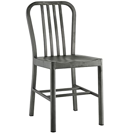 Modway Clink Brushed Metal Dining Side Chair In Silver   Restaurant | Patio  | Deck |