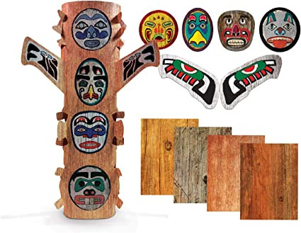 Baker Ross Wooden Totem Pole Kit For Kids to Decorate and Display AW659 Pack of 4